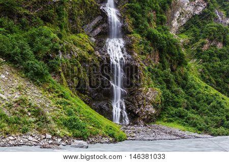 Scenic Waterfall in Alaska, USA
