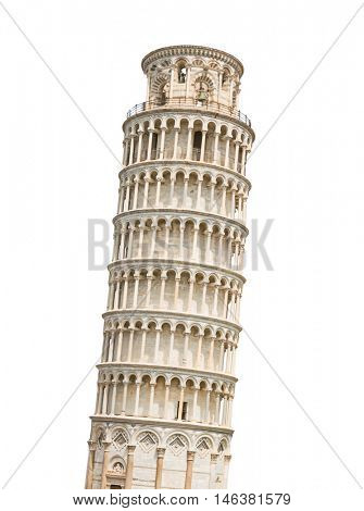 The Leaning Tower of Pisa isolated on white background.