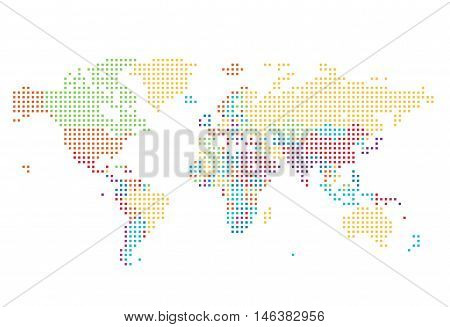 Dotted World map of square dots on white background. Vector illustration.