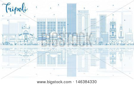 Outline Tripoli Skyline with Blue Buildings and Reflections. Vector Illustration. Business Travel and Tourism Concept with Historic Buildings. Image for Presentation Banner Placard and Web.