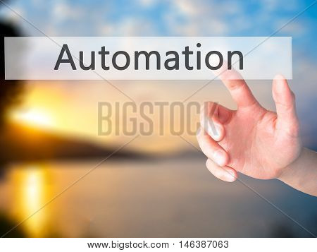 Automation - Hand Pressing A Button On Blurred Background Concept On Visual Screen.