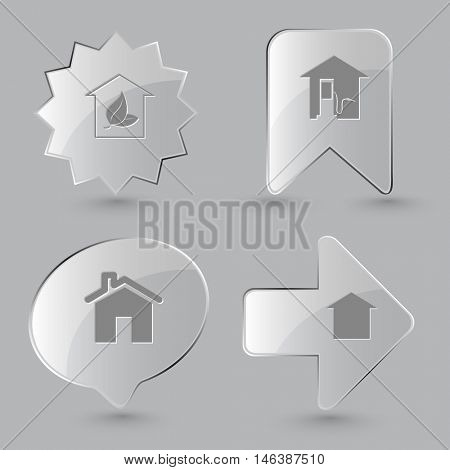 4 images: hothouse, car fueling, home. Home set. Glass buttons on gray background. Vector icons.