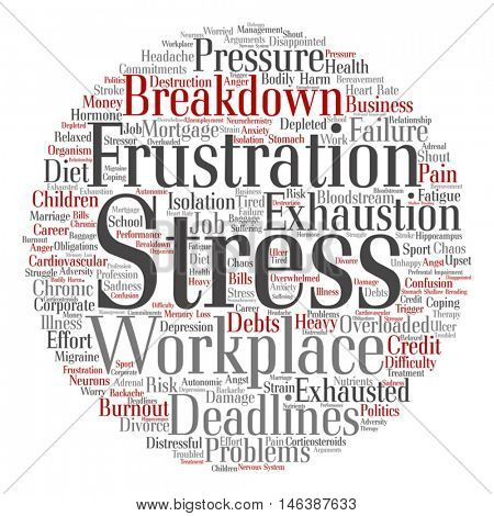 Vector concept conceptual mental stress at workplace job abstract round word cloud isolated on background metaphor to health work, depression, problem, exhaustion, breakdown, deadlines, risk, pressure