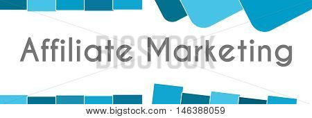 Affiliate marketing text written over abstract blue background.