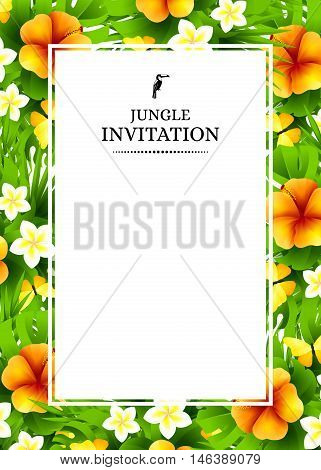 Tropical hawaiian background with jungle palm tree leaves exotic flowers and yellow butterflies. Vertical vector invitation banners with hibiscus floral decorations and copy space