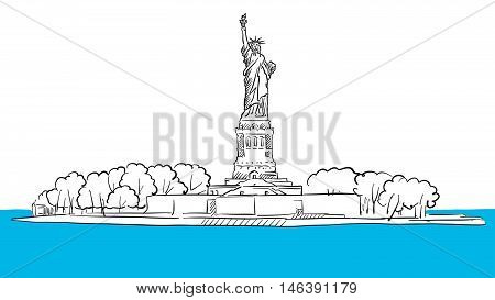 Statue Of Liberty Island Areal Sketch
