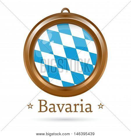 Round golden medallion with the flag of Bavaria inside. Free State of Bavaria flag. Vector illustration