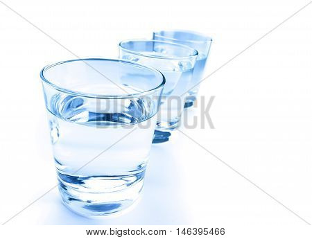 Three Drink Glass With Water, Nutrition And Health-care Concept