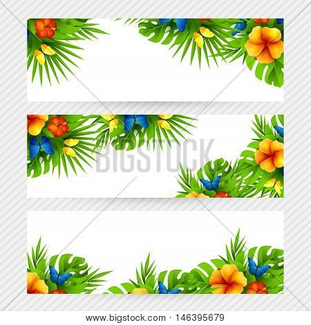 Summer tropical hawaiian background with jungle palm tree leaves exotic flowers and rainbow butterflies. Horizontal vector invitation banners with hibiscus floral decorations and copy space
