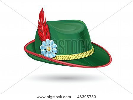 Oktoberfest hat. Tyrolean (Bavarian) hat. Traditional German headdress. Hunter hat with a feather. Part of the Bavarian national costume. Vector illustration isolated on white background