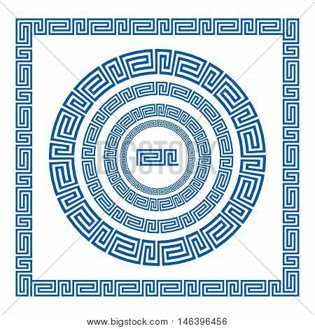 Set Of Vector Brushes To Create Greek Meander Patterns And Samples Of Their Application For Round An