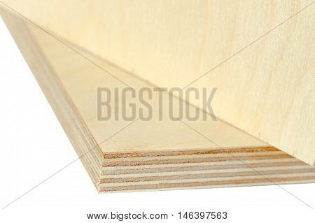 Isolate macro plywood boards stacked, board for flooring