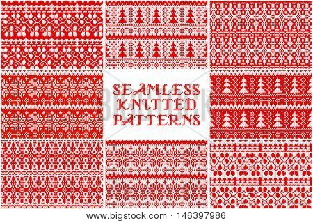 Set Knitted Christmas Pattern.