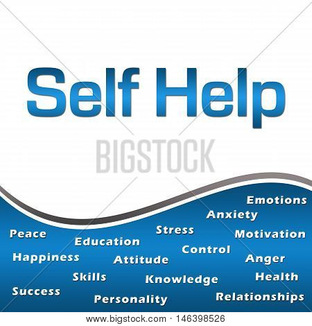 Self help concept image with text and related wordcloud over blue background.