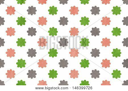 Watercolor Pink, Green And Grey Flowers.