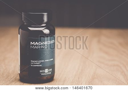Inverigo Italy - September 8 2016: marine magnesium citrate tablets Bios Line nutritional supplement in a glass bottle
