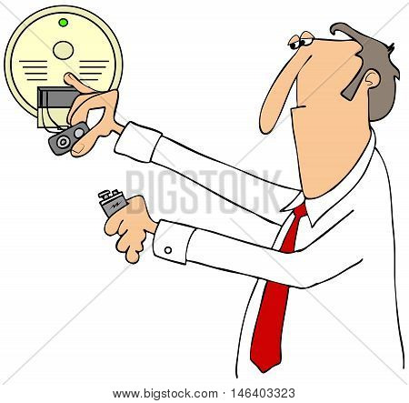 Illustration of a businessman installing a 9 volt battery in a smoke detector.
