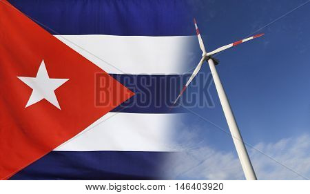 Concept clean energy with flag of Cuba merged with wind turbine in a blue sunny sky