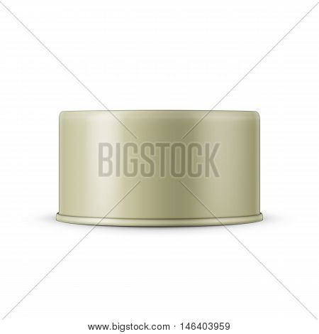 Low-profile tin can on white background. Side view. Vector illustration. Packaging collection.