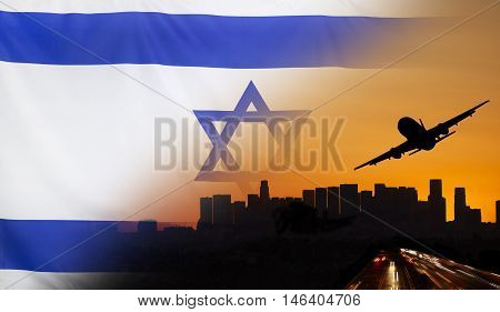 Travel and transport concept with skyline silhouette highway traffic and airplane at sunset merged with real fabric flag of Israel