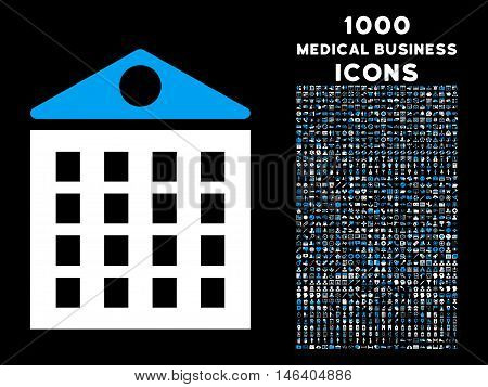 Multi-Storey House vector bicolor icon with 1000 medical business icons. Set style is flat pictograms blue and white colors black background.
