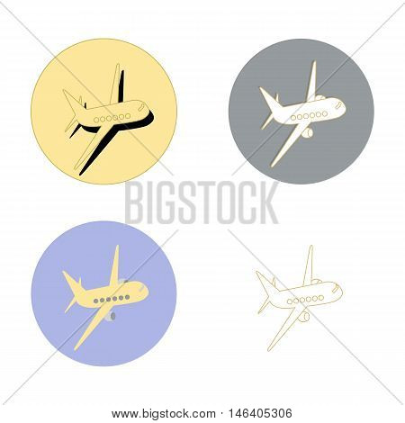 symbol of a passenger plane in flight. Four different variants