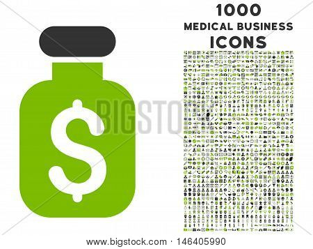 Business Remedy vector bicolor icon with 1000 medical business icons. Set style is flat pictograms, eco green and gray colors, white background.