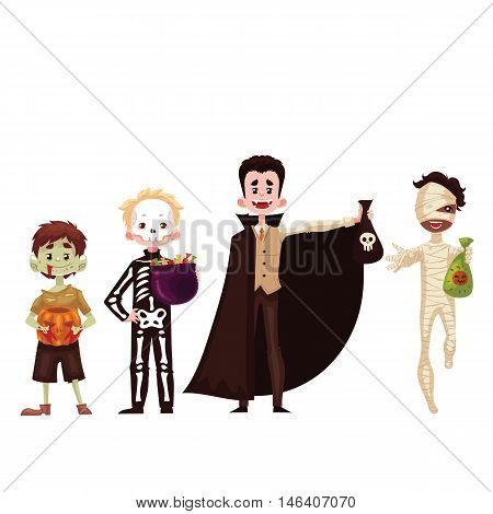 Boys dressed in costumes for Halloween, cartoon style vector illustration isolated on white background. Skeleton, mummy, zombie vampire fancy dresses for Halloween carnival. Trick or treat tradition