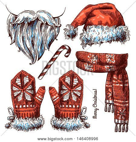 Set of Christmas hat, scarf and mittens. Beautiful hand-drawn sketch style illustration. Use for postkards, new year design, invitations, posters.