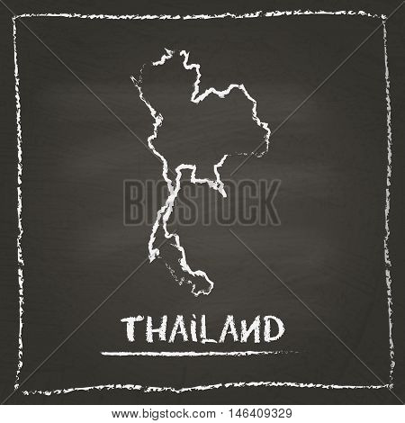 Thailand Outline Vector Map Hand Drawn With Chalk On A Blackboard. Chalkboard Scribble In Childish S