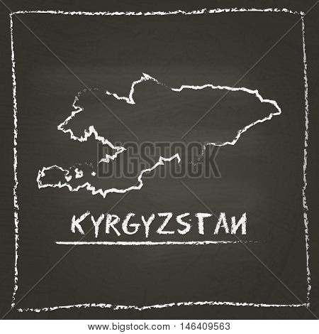 Kyrgyzstan Outline Vector Map Hand Drawn With Chalk On A Blackboard. Chalkboard Scribble In Childish
