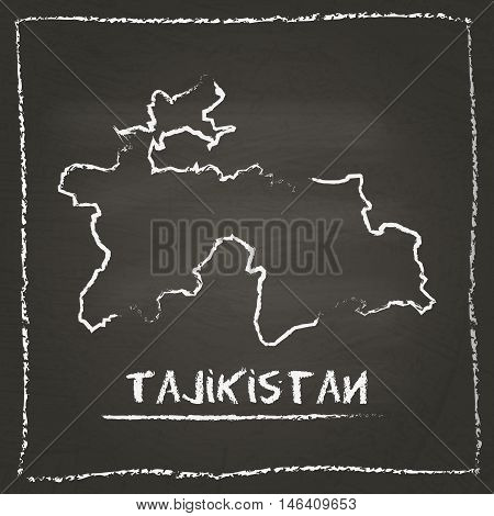 Tajikistan Outline Vector Map Hand Drawn With Chalk On A Blackboard. Chalkboard Scribble In Childish