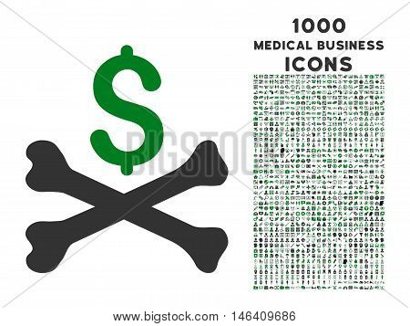 Mortal Debt vector bicolor icon with 1000 medical business icons. Set style is flat pictograms green and gray colors white background.