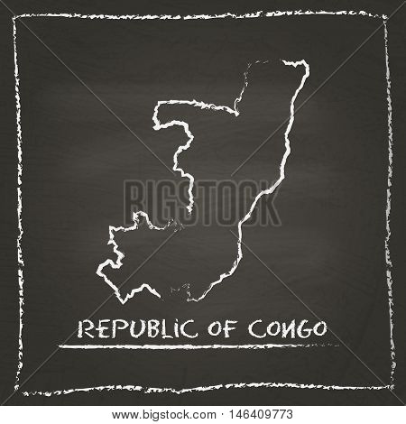 Congo Outline Vector Map Hand Drawn With Chalk On A Blackboard. Chalkboard Scribble In Childish Styl