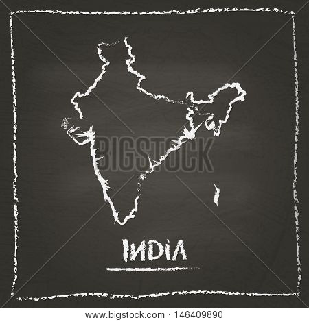 India Outline Vector Map Hand Drawn With Chalk On A Blackboard. Chalkboard Scribble In Childish Styl