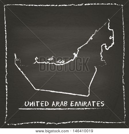 United Arab Emirates Outline Vector Map Hand Drawn With Chalk On A Blackboard. Chalkboard Scribble I