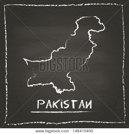 Pakistan Outline Vector Map Hand Drawn With Chalk On A Blackboard. Chalkboard Scribble In Childish S