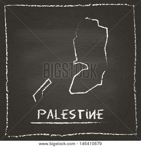 Palestine Outline Vector Map Hand Drawn With Chalk On A Blackboard. Chalkboard Scribble In Childish