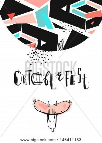 Octoberfest. Holiday Vector Illustration With handwritten modern ink Lettering phase composition with sausage on a fork on abstract textured geometric background isolated on white.