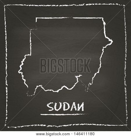 Sudan Outline Vector Map Hand Drawn With Chalk On A Blackboard. Chalkboard Scribble In Childish Styl