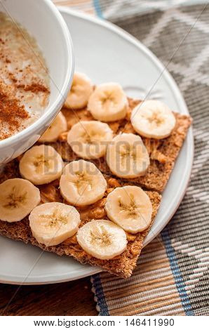 Crispbread With Peanut Butter And Banana.