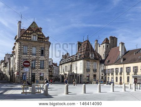 Half Timbered  Houses At Place Cordeliers In Dijon, Burgundy, France.