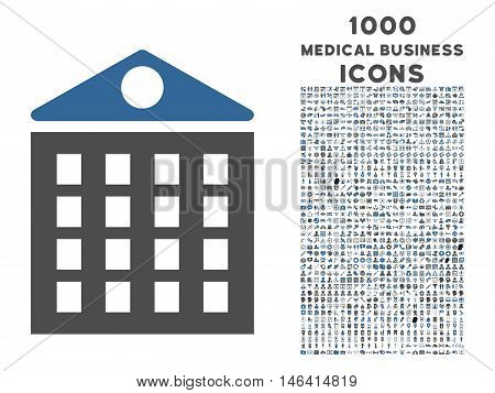 Multi-Storey House vector bicolor icon with 1000 medical business icons. Set style is flat pictograms, cobalt and gray colors, white background.