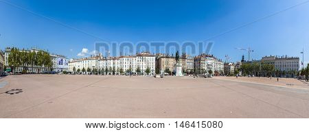 View Of The City Of Lyon At Place Bellecour, France