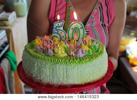 birthday cake in honor of the fiftieth anniversary
