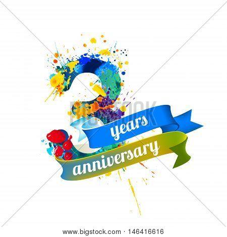 three (3) years anniversary. Vector watercolor splash paint