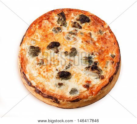 Vegetable Pie With Broccoli, Cheese, Chicken, Tomatoes Isolated On White Background. Food Close Up