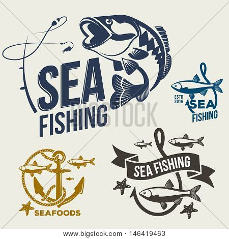 Collection of sea fishing related logo, emblems template.