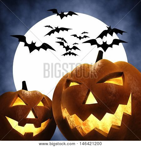 Halloween carved pumpkins scene , Jack-o-lantern , Trick or treat , 3d illustration