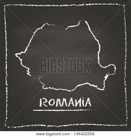 Romania Outline Vector Map Hand Drawn With Chalk On A Blackboard. Chalkboard Scribble In Childish St
